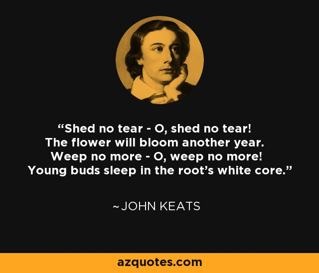 Shed no tear - O, shed no tear! The flower will bloom another year. Weep no more - O, weep no more! Young buds sleep in the root's white core. - John Keats