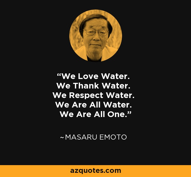 We Love Water. We Thank Water. We Respect Water. We Are All Water. We Are All One. - Masaru Emoto