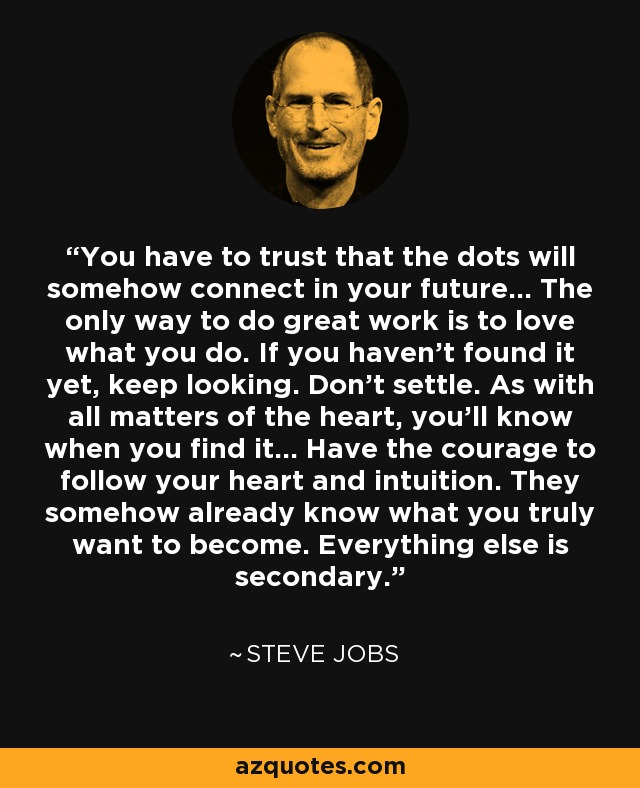 You have to trust that the dots will somehow connect in your future... The only way to do great work is to love what you do. If you haven't found it yet, keep looking. Don't settle. As with all matters of the heart, you'll know when you find it... Have the courage to follow your heart and intuition. They somehow already know what you truly want to become. Everything else is secondary. - Steve Jobs
