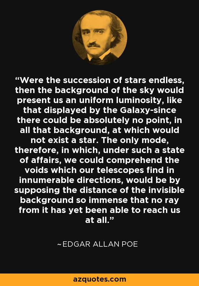 Were the succession of stars endless, then the background of the sky would present us an uniform luminosity, like that displayed by the Galaxy-since there could be absolutely no point, in all that background, at which would not exist a star. The only mode, therefore, in which, under such a state of affairs, we could comprehend the voids which our telescopes find in innumerable directions, would be by supposing the distance of the invisible background so immense that no ray from it has yet been able to reach us at all. - Edgar Allan Poe