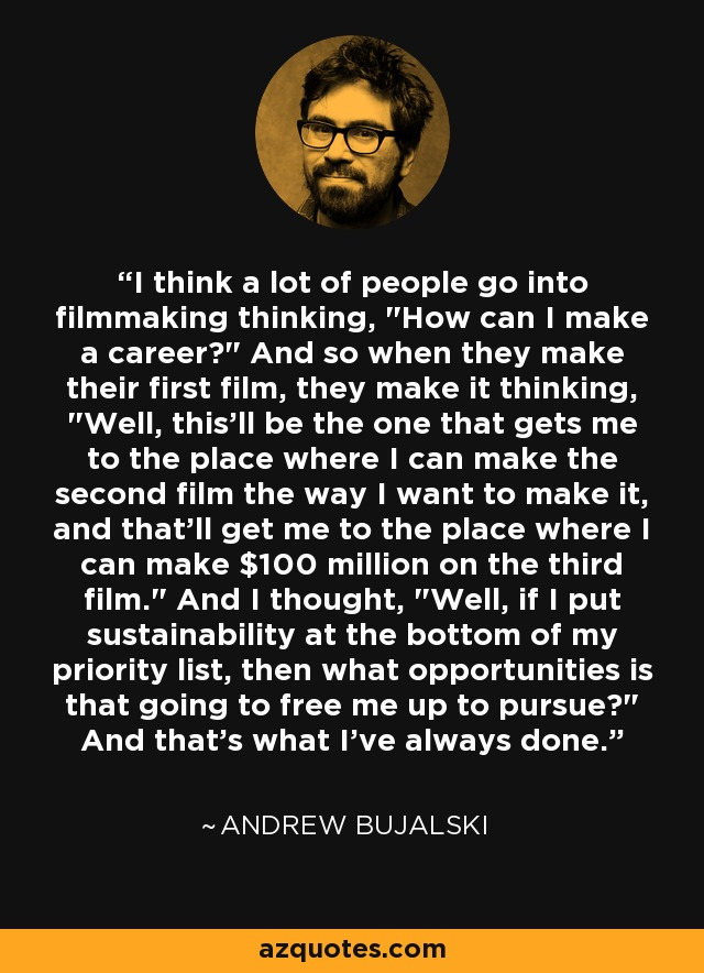 I think a lot of people go into filmmaking thinking,