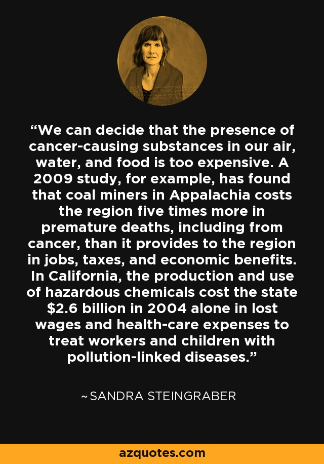 We can decide that the presence of cancer-causing substances in our air, water, and food is too expensive. A 2009 study, for example, has found that coal miners in Appalachia costs the region five times more in premature deaths, including from cancer, than it provides to the region in jobs, taxes, and economic benefits. In California, the production and use of hazardous chemicals cost the state $2.6 billion in 2004 alone in lost wages and health-care expenses to treat workers and children with pollution-linked diseases. - Sandra Steingraber