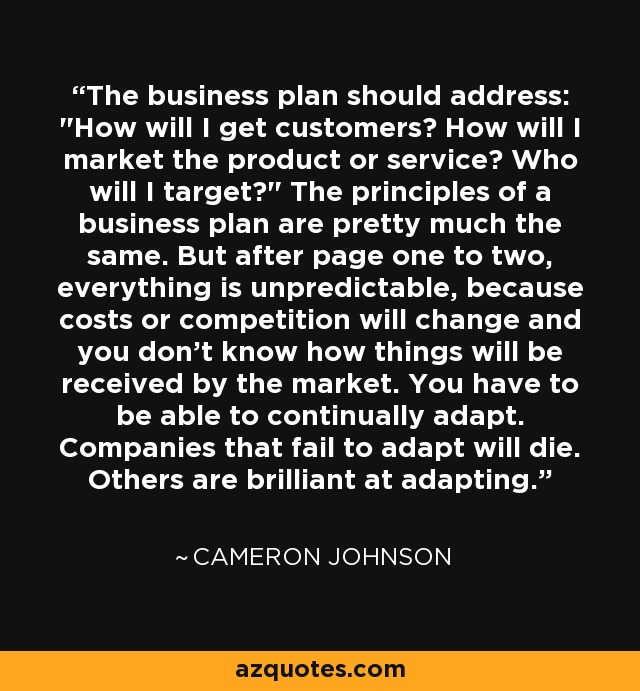 The business plan should address: