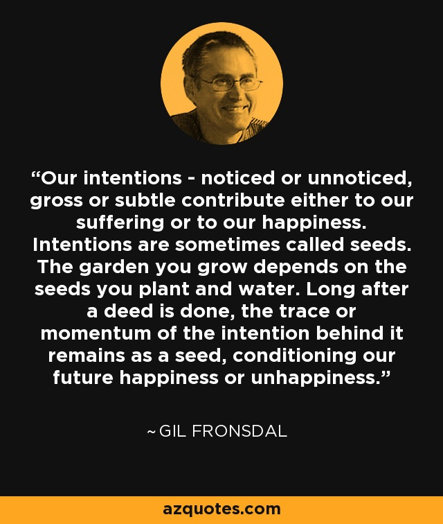 Our intentions - noticed or unnoticed, gross or subtle contribute either to our suffering or to our happiness. Intentions are sometimes called seeds. The garden you grow depends on the seeds you plant and water. Long after a deed is done, the trace or momentum of the intention behind it remains as a seed, conditioning our future happiness or unhappiness. - Gil Fronsdal