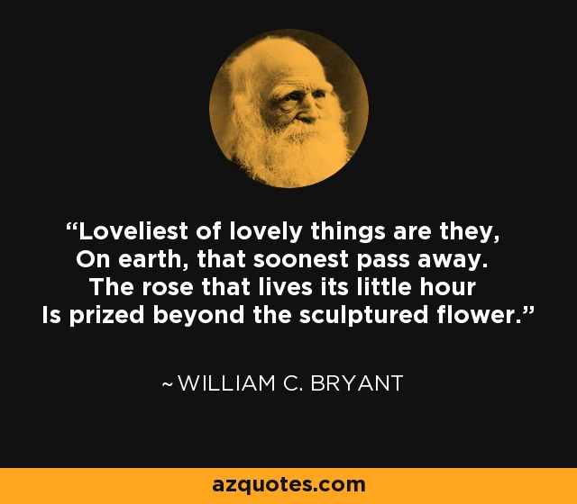 Loveliest of lovely things are they, On earth, that soonest pass away. The rose that lives its little hour Is prized beyond the sculptured flower. - William C. Bryant