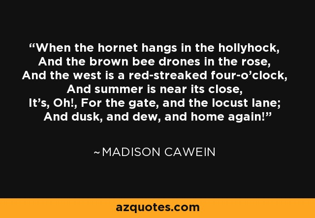 When the hornet hangs in the hollyhock, And the brown bee drones in the rose, And the west is a red-streaked four-o'clock, And summer is near its close, It's, Oh!, For the gate, and the locust lane; And dusk, and dew, and home again! - Madison Cawein