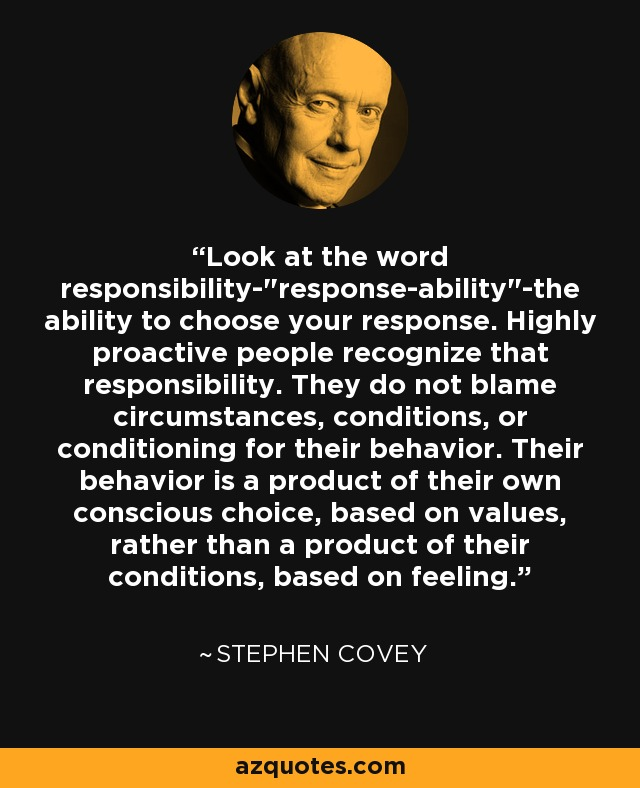 Look at the word responsibility-