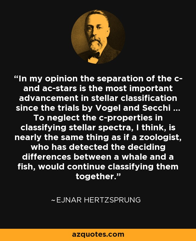 In my opinion the separation of the c- and ac-stars is the most important advancement in stellar classification since the trials by Vogel and Secchi ... To neglect the c-properties in classifying stellar spectra, I think, is nearly the same thing as if a zoologist, who has detected the deciding differences between a whale and a fish, would continue classifying them together. - Ejnar Hertzsprung