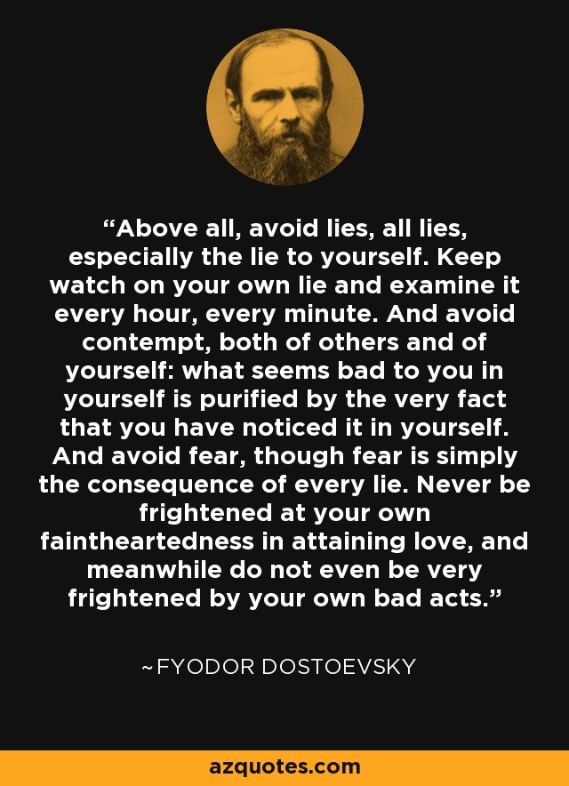 Fyodor Dostoevsky Quote Above All Avoid Lies All Lies Especially