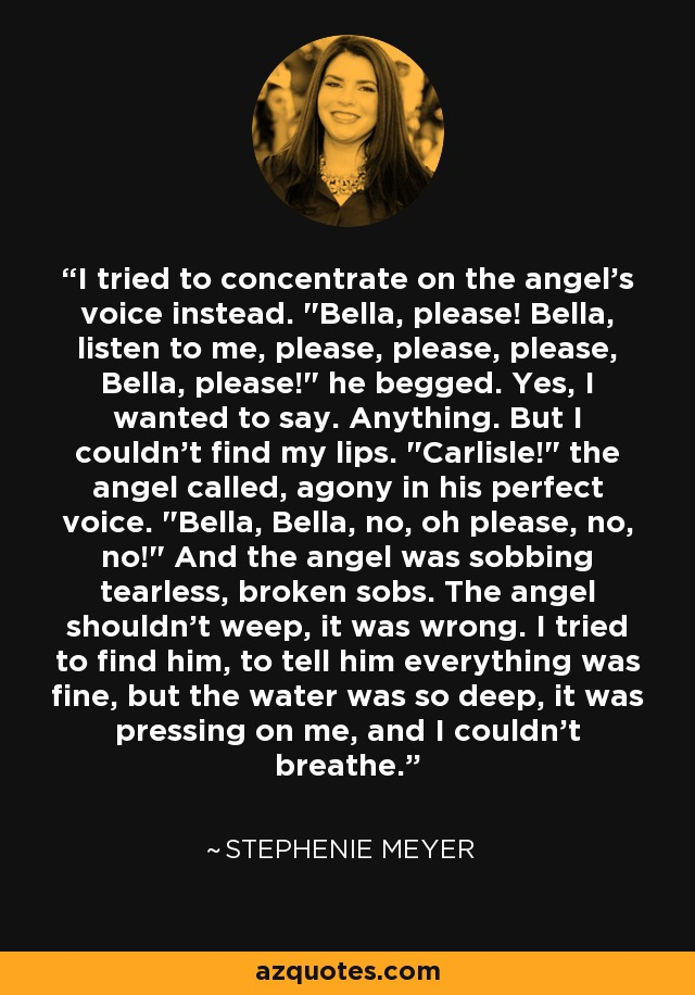 I tried to concentrate on the angel's voice instead.