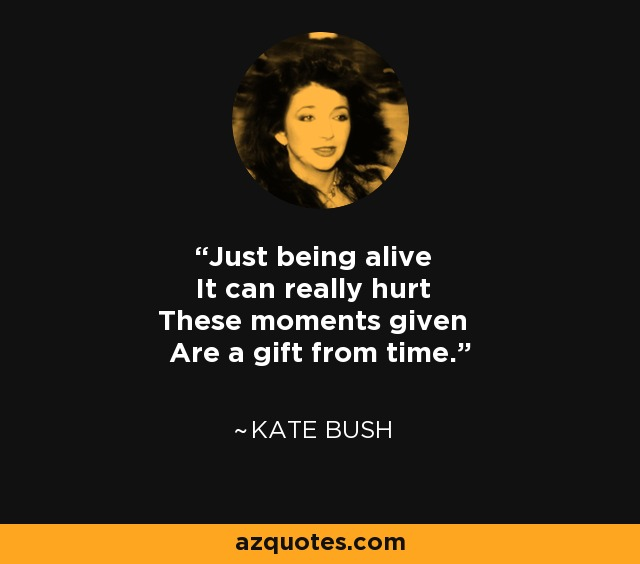 Just being alive It can really hurt These moments given Are a gift from time. - Kate Bush