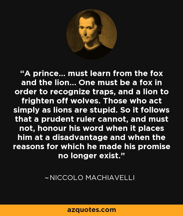 frq machiavelli fox and lion Free niccolo machiavelli: the laughing lion and the strutting fox 2010  you can add free niccolo machiavelli: the laughing lion and from heavy weapons, maximum js .