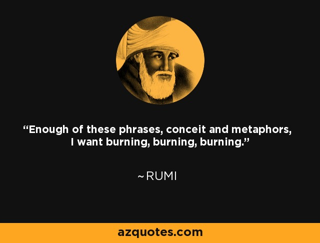 Enough of these phrases, conceit and metaphors, I want burning, burning, burning. - Rumi