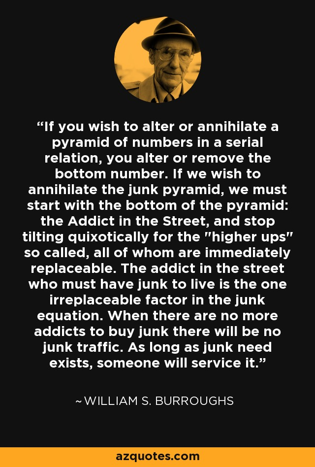 If you wish to alter or annihilate a pyramid of numbers in a serial relation, you alter or remove the bottom number. If we wish to annihilate the junk pyramid, we must start with the bottom of the pyramid: the Addict in the Street, and stop tilting quixotically for the