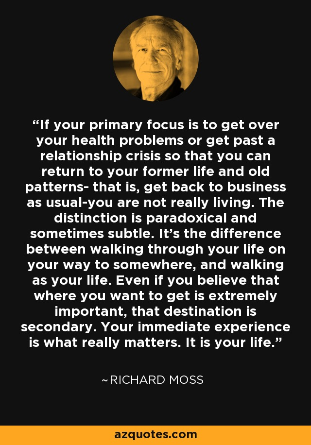 If your primary focus is to get over your health problems or get past a relationship crisis so that you can return to your former life and old patterns- that is, get back to business as usual-you are not really living. The distinction is paradoxical and sometimes subtle. It's the difference between walking through your life on your way to somewhere, and walking as your life. Even if you believe that where you want to get is extremely important, that destination is secondary. Your immediate experience is what really matters. It is your life. - Richard Moss