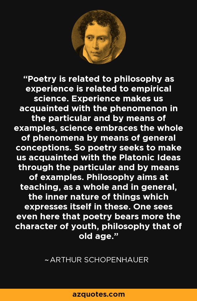 Poetry is related to philosophy as experience is related to empirical science. Experience makes us acquainted with the phenomenon in the particular and by means of examples, science embraces the whole of phenomena by means of general conceptions. So poetry seeks to make us acquainted with the Platonic Ideas through the particular and by means of examples. Philosophy aims at teaching, as a whole and in general, the inner nature of things which expresses itself in these. One sees even here that poetry bears more the character of youth, philosophy that of old age. - Arthur Schopenhauer