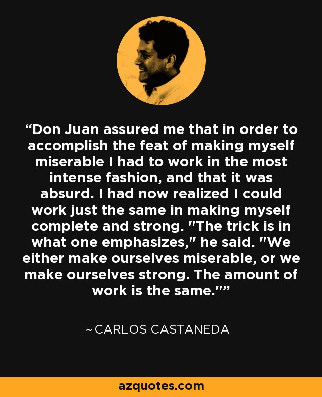 Don Juan assured me that in order to accomplish the feat of making myself miserable I had to work in the most intense fashion, and that it was absurd. I had now realized I could work just the same in making myself complete and strong.
