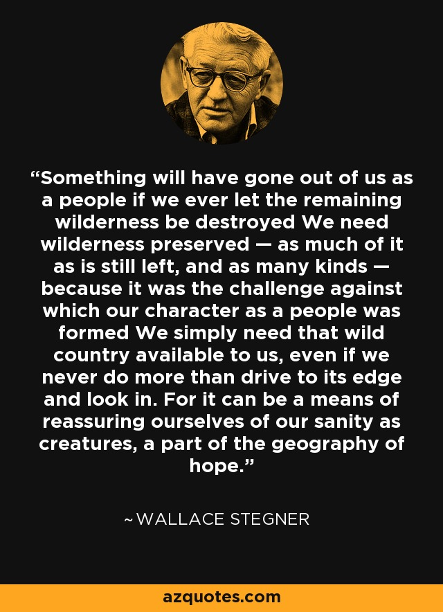 Something will have gone out of us as a people if we ever let the remaining wilderness be destroyed We need wilderness preserved — as much of it as is still left, and as many kinds — because it was the challenge against which our character as a people was formed We simply need that wild country available to us, even if we never do more than drive to its edge and look in. For it can be a means of reassuring ourselves of our sanity as creatures, a part of the geography of hope. - Wallace Stegner