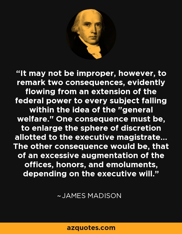 It may not be improper, however, to remark two consequences, evidently flowing from an extension of the federal power to every subject falling within the idea of the