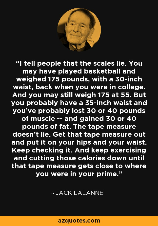 I tell people that the scales lie. You may have played basketball and weighed 175 pounds, with a 30-inch waist, back when you were in college. And you may still weigh 175 at 55. But you probably have a 35-inch waist and you've probably lost 30 or 40 pounds of muscle -- and gained 30 or 40 pounds of fat. The tape measure doesn't lie. Get that tape measure out and put it on your hips and your waist. Keep checking it. And keep exercising and cutting those calories down until that tape measure gets close to where you were in your prime. - Jack LaLanne