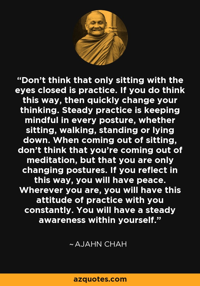 Don't think that only sitting with the eyes closed is practice. If you do think this way, then quickly change your thinking. Steady practice is keeping mindful in every posture, whether sitting, walking, standing or lying down. When coming out of sitting, don't think that you're coming out of meditation, but that you are only changing postures. If you reflect in this way, you will have peace. Wherever you are, you will have this attitude of practice with you constantly. You will have a steady awareness within yourself. - Ajahn Chah