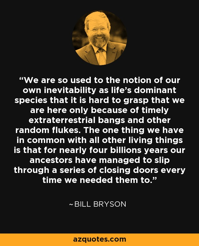 We are so used to the notion of our own inevitability as life's dominant species that it is hard to grasp that we are here only because of timely extraterrestrial bangs and other random flukes. The one thing we have in common with all other living things is that for nearly four billions years our ancestors have managed to slip through a series of closing doors every time we needed them to. - Bill Bryson