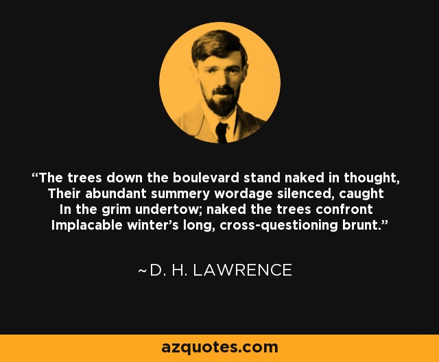 The trees down the boulevard stand naked in thought, Their abundant summery wordage silenced, caught In the grim undertow; naked the trees confront Implacable winter's long, cross-questioning brunt. - D. H. Lawrence