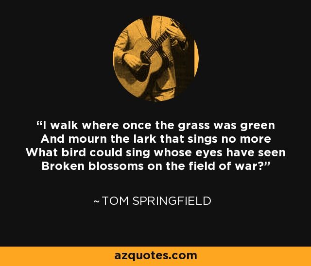 I walk where once the grass was green And mourn the lark that sings no more What bird could sing whose eyes have seen Broken blossoms on the field of war? - Tom Springfield