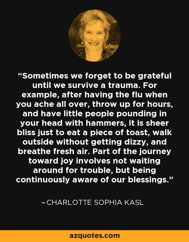 Sometimes we forget to be grateful until we survive a trauma. For example, after having the flu when you ache all over, throw up for hours, and have little people pounding in your head with hammers, it is sheer bliss just to eat a piece of toast, walk outside without getting dizzy, and breathe fresh air. Part of the journey toward joy involves not waiting around for trouble, but being continuously aware of our blessings. - Charlotte Sophia Kasl