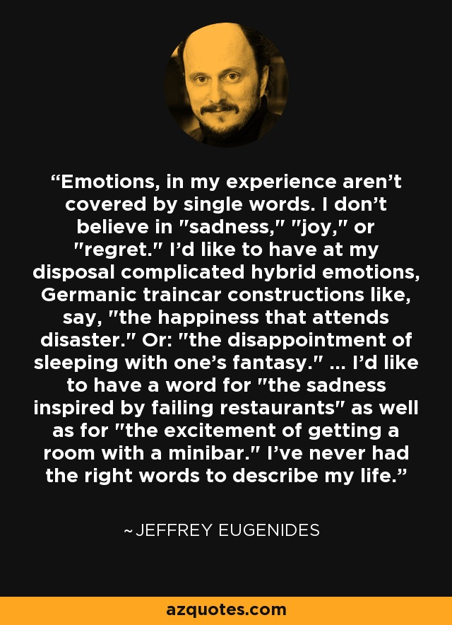 Emotions, in my experience aren't covered by single words. I don't believe in