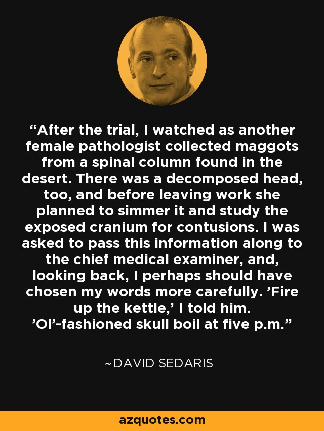 After the trial, I watched as another female pathologist collected maggots from a spinal column found in the desert. There was a decomposed head, too, and before leaving work she planned to simmer it and study the exposed cranium for contusions. I was asked to pass this information along to the chief medical examiner, and, looking back, I perhaps should have chosen my words more carefully. 'Fire up the kettle,' I told him. 'Ol'-fashioned skull boil at five p.m. - David Sedaris