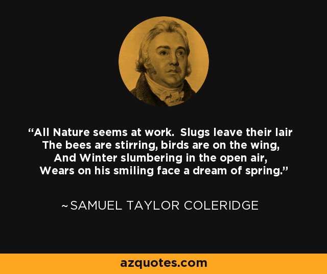 All Nature seems at work. Slugs leave their lair The bees are stirring, birds are on the wing, And Winter slumbering in the open air, Wears on his smiling face a dream of spring. - Samuel Taylor Coleridge