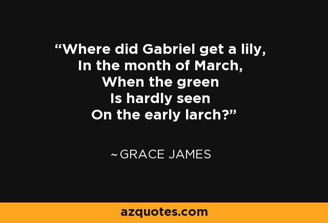 Where did Gabriel get a lily, In the month of March, When the green Is hardly seen On the early larch? - Grace James
