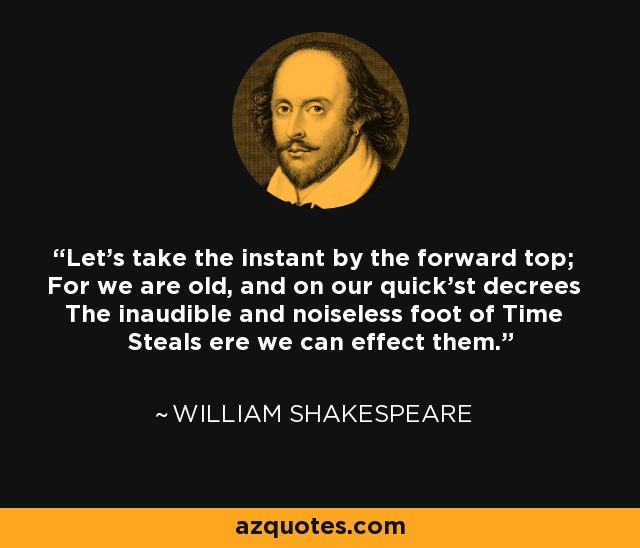 Let's take the instant by the forward top; For we are old, and on our quick'st decrees The inaudible and noiseless foot of Time Steals ere we can effect them. - William Shakespeare