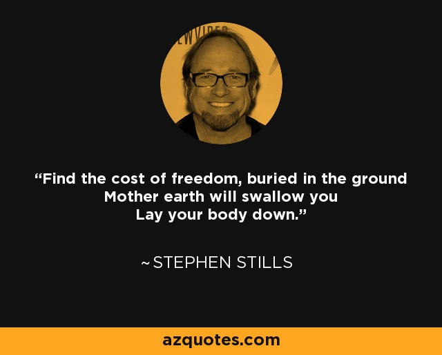 Find the cost of freedom, buried in the ground Mother earth will swallow you Lay your body down - Stephen Stills