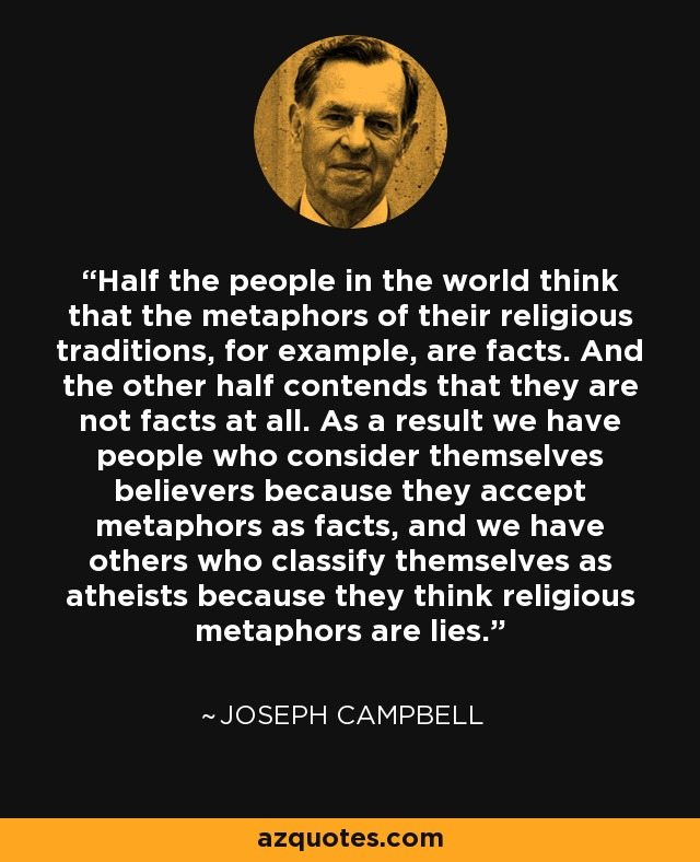 Half the people in the world think that the metaphors of their religious traditions, for example, are facts. And the other half contends that they are not facts at all. As a result we have people who consider themselves believers because they accept metaphors as facts, and we have others who classify themselves as atheists because they think religious metaphors are lies. - Joseph Campbell