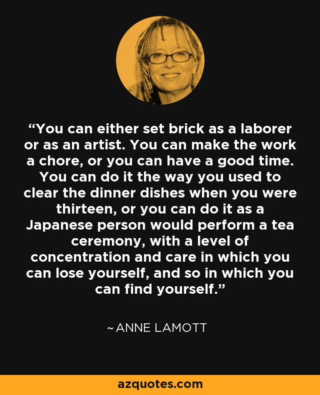 Persistence Motivational Quotes: Anne Lamott Quote: You Can Either Set Brick As A Laborer