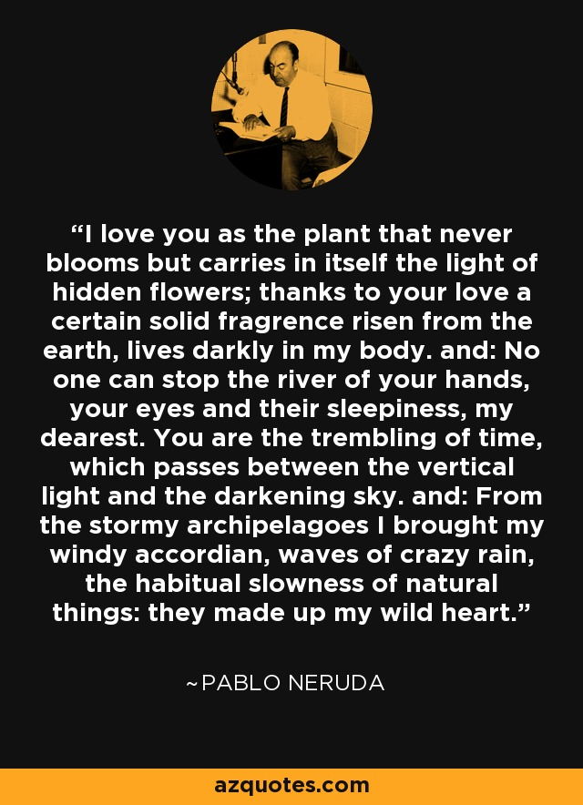 I love you as the plant that never blooms but carries in itself the light of hidden flowers; thanks to your love a certain solid fragrence risen from the earth, lives darkly in my body. and: No one can stop the river of your hands, your eyes and their sleepiness, my dearest. You are the trembling of time, which passes between the vertical light and the darkening sky. and: From the stormy archipelagoes I brought my windy accordian, waves of crazy rain, the habitual slowness of natural things: they made up my wild heart. - Pablo Neruda