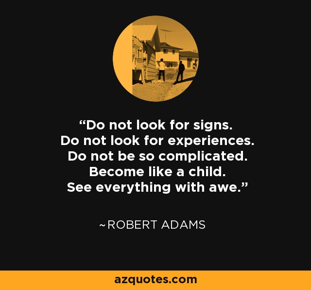 Do not look for signs. Do not look for experiences. Do not be so complicated. Become like a child. See everything with awe. - Robert Adams