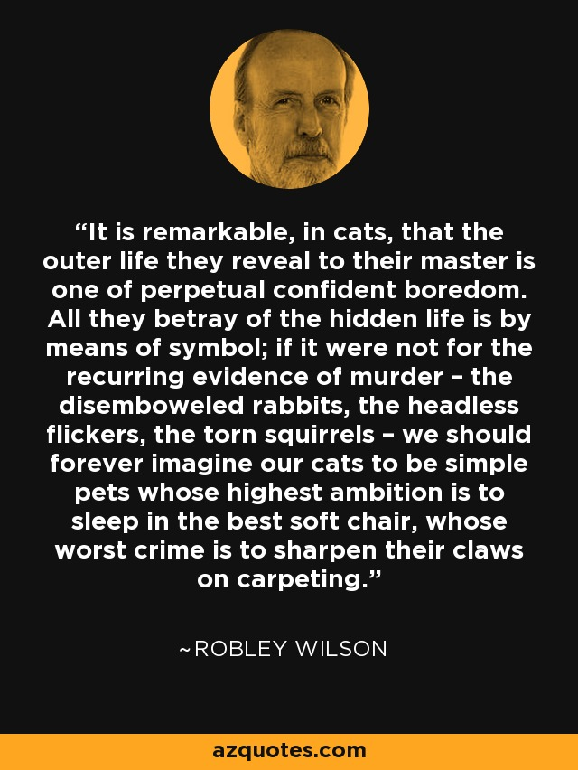It is remarkable, in cats, that the outer life they reveal to their master is one of perpetual confident boredom. All they betray of the hidden life is by means of symbol; if it were not for the recurring evidence of murder – the disemboweled rabbits, the headless flickers, the torn squirrels – we should forever imagine our cats to be simple pets whose highest ambition is to sleep in the best soft chair, whose worst crime is to sharpen their claws on carpeting. - Robley Wilson