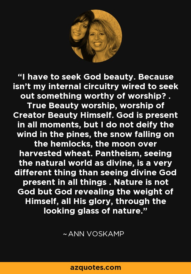 I have to seek God beauty. Because isn't my internal circuitry wired to seek out something worthy of worship? . True Beauty worship, worship of Creator Beauty Himself. God is present in all moments, but I do not deify the wind in the pines, the snow falling on the hemlocks, the moon over harvested wheat. Pantheism, seeing the natural world as divine, is a very different thing than seeing divine God present in all things . Nature is not God but God revealing the weight of Himself, all His glory, through the looking glass of nature. - Ann Voskamp