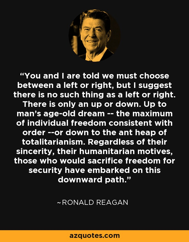 You and I are told we must choose between a left or right, but I suggest there is no such thing as a left or right. There is only an up or down. Up to man's age-old dream -- the maximum of individual freedom consistent with order --or down to the ant heap of totalitarianism. Regardless of their sincerity, their humanitarian motives, those who would sacrifice freedom for security have embarked on this downward path. - Ronald Reagan
