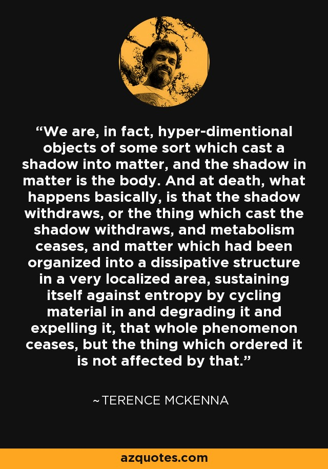 We are, in fact, hyper-dimentional objects of some sort which cast a shadow into matter, and the shadow in matter is the body. And at death, what happens basically, is that the shadow withdraws, or the thing which cast the shadow withdraws, and metabolism ceases, and matter which had been organized into a dissipative structure in a very localized area, sustaining itself against entropy by cycling material in and degrading it and expelling it, that whole phenomenon ceases, but the thing which ordered it is not affected by that. - Terence McKenna
