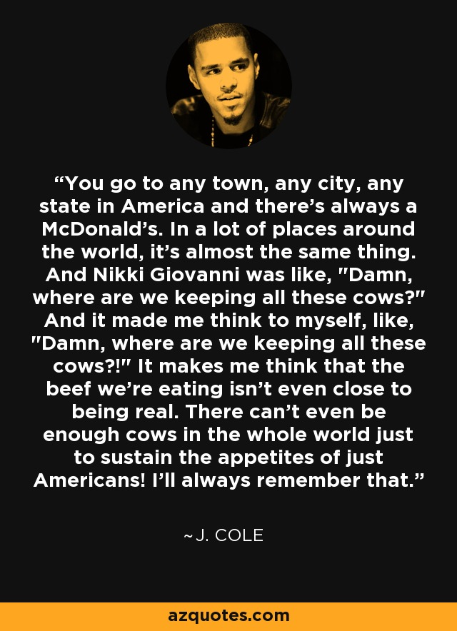 You go to any town, any city, any state in America and there's always a McDonald's. In a lot of places around the world, it's almost the same thing. And Nikki Giovanni was like,