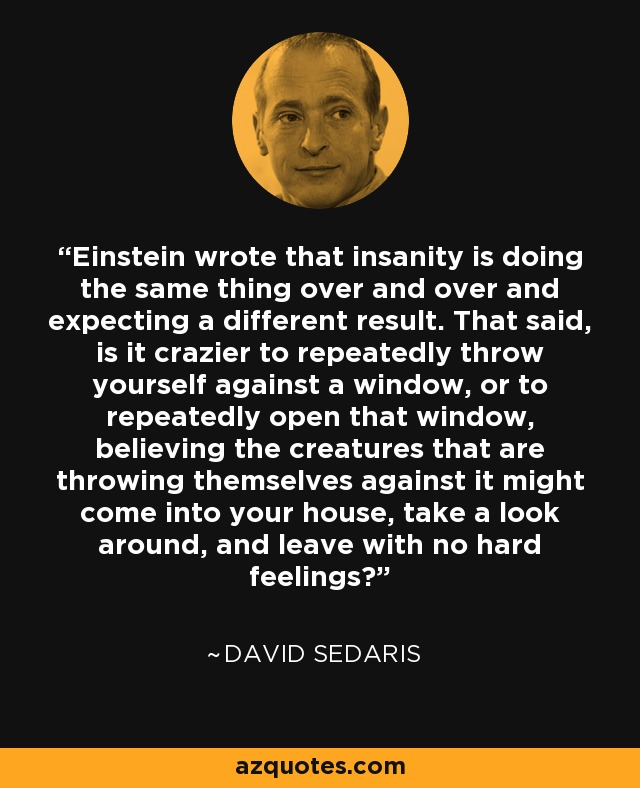 Einstein wrote that insanity is doing the same thing over and over and expecting a different result. That said, is it crazier to repeatedly throw yourself against a window, or to repeatedly open that window, believing the creatures that are throwing themselves against it might come into your house, take a look around, and leave with no hard feelings? - David Sedaris