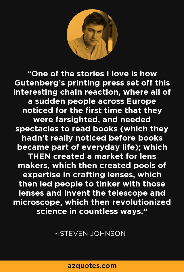 One of the stories I love is how Gutenberg's printing press set off this interesting chain reaction, where all of a sudden people across Europe noticed for the first time that they were farsighted, and needed spectacles to read books (which they hadn't really noticed before books became part of everyday life); which THEN created a market for lens makers, which then created pools of expertise in crafting lenses, which then led people to tinker with those lenses and invent the telescope and microscope, which then revolutionized science in countless ways. - Steven Johnson
