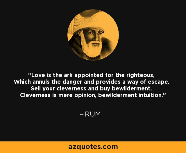 Love is the ark appointed for the righteous, Which annuls the danger and provides a way of escape. Sell your cleverness and buy bewilderment. Cleverness is mere opinion, bewilderment intuition. - Rumi