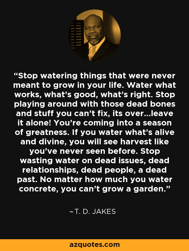 Stop watering things that were never meant to grow in your life. Water what works, what's good, what's right. Stop playing around with those dead bones and stuff you can't fix, its over...leave it alone! You're coming into a season of greatness. If you water what's alive and divine, you will see harvest like you've never seen before. Stop wasting water on dead issues, dead relationships, dead people, a dead past. No matter how much you water concrete, you can't grow a garden. - T. D. Jakes