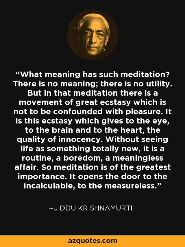 What meaning has such meditation? There is no meaning; there is no utility. But in that meditation there is a movement of great ecstasy which is not to be confounded with pleasure. It is this ecstasy which gives to the eye, to the brain and to the heart, the quality of innocency. Without seeing life as something totally new, it is a routine, a boredom, a meaningless affair. So meditation is of the greatest importance. It opens the door to the incalculable, to the measureless. - Jiddu Krishnamurti