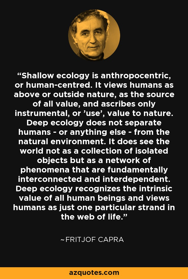 Shallow ecology is anthropocentric, or human-centred. It views humans as above or outside nature, as the source of all value, and ascribes only instrumental, or 'use', value to nature. Deep ecology does not separate humans - or anything else - from the natural environment. It does see the world not as a collection of isolated objects but as a network of phenomena that are fundamentally interconnected and interdependent. Deep ecology recognizes the intrinsic value of all human beings and views humans as just one particular strand in the web of life. - Fritjof Capra